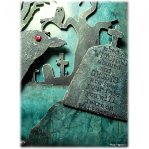 Grim Reaper Border Scene Wood Shape For Altered Art And Crafts